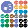 Medical face mask and hand sanitizer round flat multi colored icons - Medical face mask and hand sanitizer multi colored flat icons on round backgrounds. Included white, light and dark icon variations for hover and active status effects, and bonus shades.