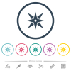 Compass flat color icons in round outlines - Compass flat color icons in round outlines. 6 bonus icons included.