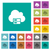 Cloud storage square flat multi colored icons - Cloud storage multi colored flat icons on plain square backgrounds. Included white and darker icon variations for hover or active effects.