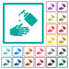Hand washing with liquid soap flat color icons with quadrant frames - Hand washing with liquid soap flat color icons with quadrant frames on white background