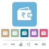 Indian Rupee wallet white flat icons on color rounded square backgrounds. 6 bonus icons included - Indian Rupee wallet flat icons on color rounded square backgrounds