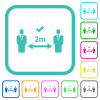Correct social distancing vivid colored flat icons - Correct social distancing vivid colored flat icons in curved borders on white background