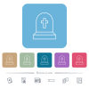 Tombstone with cross flat icons on color rounded square backgrounds - Tombstone with cross white flat icons on color rounded square backgrounds. 6 bonus icons included
