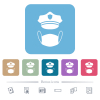 Police hat and medical face mask flat icons on color rounded square backgrounds - Police hat and medical face mask white flat icons on color rounded square backgrounds. 6 bonus icons included