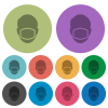 Face with medical mask color darker flat icons - Face with medical mask darker flat icons on color round background