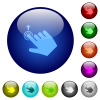 Right handed slide up gesture icons on round glass buttons in multiple colors. Arranged layer structure - Right handed slide up gesture color glass buttons