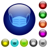 Medical face mask color glass buttons - Medical face mask icons on round glass buttons in multiple colors. Arranged layer structure