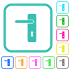Left handed simple door handle vivid colored flat icons in curved borders on white background - Left handed simple door handle vivid colored flat icons