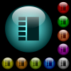 Vertical tabbed layout icons in color illuminated spherical glass buttons on black background. Can be used to black or dark templates - Vertical tabbed layout icons in color illuminated glass buttons