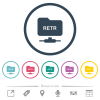 FTP retrieve file flat color icons in round outlines. 6 bonus icons included. - FTP retrieve file flat color icons in round outlines