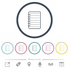 Notepad flat color icons in round outlines - Notepad flat color icons in round outlines. 6 bonus icons included.