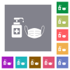 Medical face mask and hand sanitizer square flat icons - Medical face mask and hand sanitizer flat icons on simple color square backgrounds