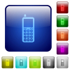 Retro mobile phone color square buttons - Retro mobile phone icons in rounded square color glossy button set