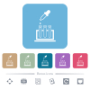 Chemical experiment flat icons on color rounded square backgrounds - Chemical experiment white flat icons on color rounded square backgrounds. 6 bonus icons included