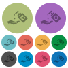 Hand washing with hand sanitizer color darker flat icons - Hand washing with hand sanitizer darker flat icons on color round background