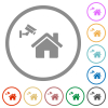 Home security flat icons with outlines - Home security flat color icons in round outlines on white background