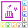 Biological experiment flat framed icons - Biological experiment flat color icons in square frames on white background
