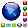 Trowel color glass buttons - Trowel icons on round glass buttons in multiple colors. Arranged layer structure