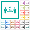 Correct social distancing flat color icons with quadrant frames - Correct social distancing flat color icons with quadrant frames on white background