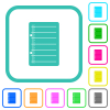 Scratch pad vivid colored flat icons - Scratch pad vivid colored flat icons in curved borders on white background