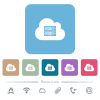 Cloud servers flat icons on color rounded square backgrounds - Cloud servers white flat icons on color rounded square backgrounds. 6 bonus icons included