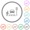Pedestrian crossing flat icons with outlines - Pedestrian crossing flat color icons in round outlines on white background