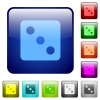Dice three color square buttons - Dice three icons in rounded square color glossy button set