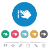 Right handed scroll down gesture flat round icons - Right handed scroll down gesture flat white icons on round color backgrounds. 6 bonus icons included.