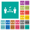 Correct social distancing square flat multi colored icons - Correct social distancing multi colored flat icons on plain square backgrounds. Included white and darker icon variations for hover or active effects.