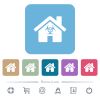 Home quarantine flat icons on color rounded square backgrounds - Home quarantine white flat icons on color rounded square backgrounds. 6 bonus icons included