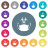 Face mask and biohazard symbol flat white icons on round color backgrounds - Face mask and biohazard symbol flat white icons on round color backgrounds. 17 background color variations are included.