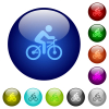 Bicycle with rider color glass buttons - Bicycle with rider icons on round glass buttons in multiple colors. Arranged layer structure