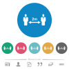 Social distancing 2 meters flat round icons - Social distancing 2 meters flat white icons on round color backgrounds. 6 bonus icons included.