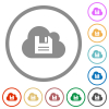 Cloud storage flat icons with outlines - Cloud storage flat color icons in round outlines on white background