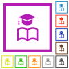 Graduation cap with book flat framed icons - Graduation cap with book flat color icons in square frames on white background
