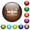 Audio balance control white icons on round glass buttons in multiple colors - Audio balance control color glass buttons