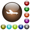 Airplane color glass buttons - Airplane white icons on round glass buttons in multiple colors