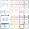 Tennis court color flat icons in rounded square frames. Thin and thick versions included. - Tennis court outlined flat color icons