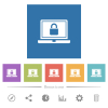 Locked laptop flat white icons in square backgrounds - Locked laptop flat white icons in square backgrounds. 6 bonus icons included.