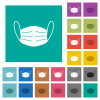 Medical face mask square flat multi colored icons - Medical face mask multi colored flat icons on plain square backgrounds. Included white and darker icon variations for hover or active effects.
