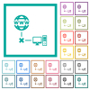 Offline computer flat color icons with quadrant frames on white background - Offline computer flat color icons with quadrant frames