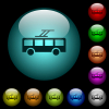 Trolley bus icons in color illuminated glass buttons - Trolley bus icons in color illuminated spherical glass buttons on black background. Can be used to black or dark templates