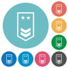 military insignia with two chevrons and two stars flat round icons - military insignia with two chevrons and two stars flat white icons on round color backgrounds
