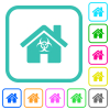 Home quarantine vivid colored flat icons - Home quarantine vivid colored flat icons in curved borders on white background