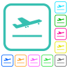 Airplane take off vivid colored flat icons - Airplane take off vivid colored flat icons in curved borders on white background