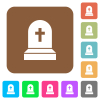 Tombstone with cross rounded square flat icons - Tombstone with cross flat icons on rounded square vivid color backgrounds.
