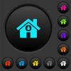 Home quarantine dark push buttons with color icons - Home quarantine dark push buttons with vivid color icons on dark grey background