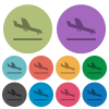 Airplane landing color darker flat icons - Airplane landing darker flat icons on color round background