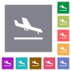 Airplane landing square flat icons - Airplane landing flat icons on simple color square backgrounds
