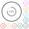 75 percent loaded flat color icons in round outlines on white background - 75 percent loaded flat icons with outlines